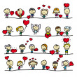 Set of borders with doodle happy children with love valentine hearts — Imagens vectoriais em stock
