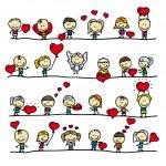 愛バレンタイン ハートと落書き幸せな子供との国境のセット — ストックベクタ
