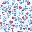 Doodle seamless background pattern of children with hearts of love valentine day on school paper - Imagen vectorial