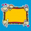 Cute doodle card frame with happy amur angels with love valentine hearts - Stock Vector