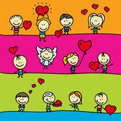 Satz von Grenzen mit Doodle glückliche Kinder mit Liebe Valentine Herzen — Stockvektor