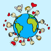 Kids around the world with love valentine hearts — Stock Vector