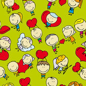Doodle seamless background pattern of love valentine day — Stock Vector