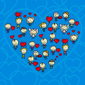 Valentine card of happy doodle children with love hearts — Vecteur