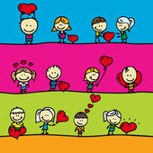 Set of borders with doodle happy children with love valentine hearts — Stock Vector