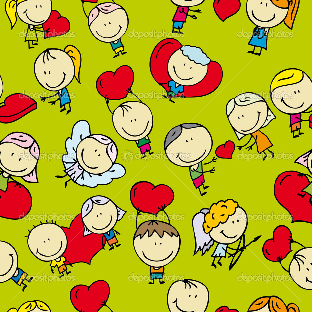 Doodle seamless background pattern of love valentine day  Stock Vector #19159285