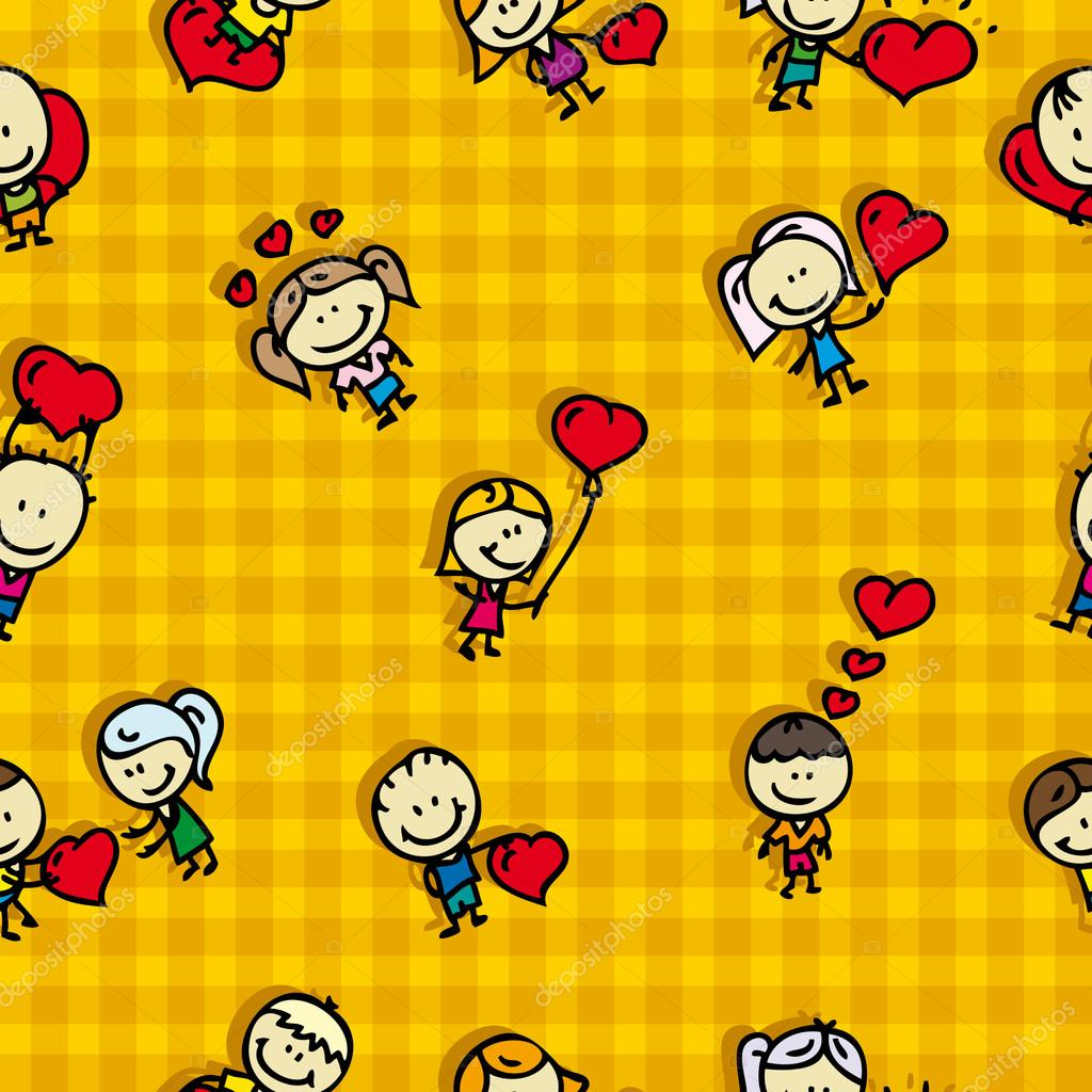 Doodle seamless background pattern of love valentine day — Stock Vector #19159299
