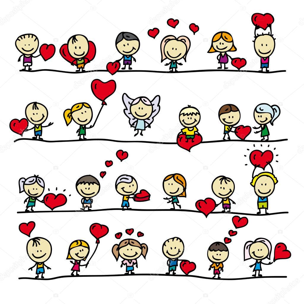 组边框与爱情人节红心涂鸦快乐儿童 — 图库矢量 ...