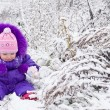 Portrait of happy little girl in snowy landscape — Stock Photo