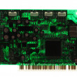 Silhouette of modern printed-circuit board with electronic compo — Stock Photo