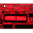 Foto Stock: Silhouette of modern printed-circuit board with electronic compo