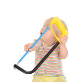 Baby with tools on white background — Stok fotoğraf
