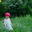 Cute little girl playing in the green field — Foto de Stock