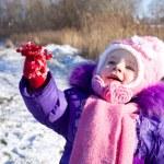 Portrait of happy little girl in snowy landscape — Stock Photo #37008575