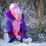 Portrait of happy little girl in snowy landscape — Stock Photo #37008623