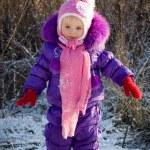 Portrait of happy little girl in snowy landscape — Stock Photo #37008629