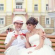 Stock Photo: Portrait Of Bridal Couple Outdoors