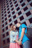 City walk of falling in love, gladness, happiness, smile, love. — Stock Photo