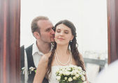 Young Smiling bride and groom close-up — Stok fotoğraf