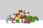 Pile of colorfull christmass present boxes — Stock Photo