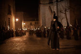 Street procession with torches — Stock Photo