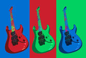 Three colorful psycho guitars — Stock Photo