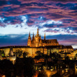 View of St. Vitus Cathedral in Prague at night - Stok fotoraf