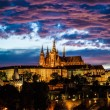 View of St. Vitus Cathedral in Prague at night - Stock Photo