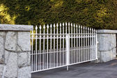 Regal white metal gate — Foto Stock