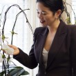 Royalty-Free Stock Photo: Pretty asian businesswoman admiring office plants