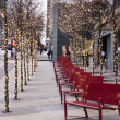 Stock Photo: Lighted trees in downtown vancouver christmastime