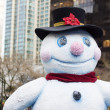 Happy snowman in downtown vancouver - closeup — Stock Photo