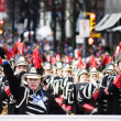 Marching band at santa claus parade - vancouver - Zdjęcie stockowe