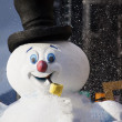 Happy snowman at christmas parade in vancouver — Stock Photo