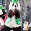 Dancing bear at christmas parade — Stock Photo