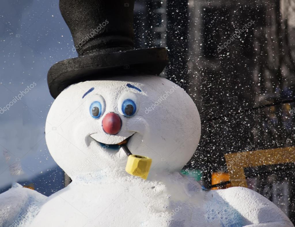 Happy snowman at christmas parade in vancouver — Stock Photo #16283135