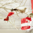Gifts by bird ornaments in bare tree — Stock Photo