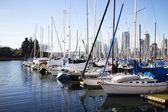 Sailboats at false creek pier -wide shot — Stock Photo