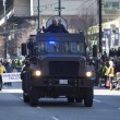 Armored police vehicle at st. patrick's day parade - Stock Photo