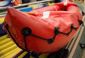 Orange inflatable raft — Stock Photo