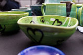 Green ceramic bowl — Stock Photo