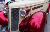Classic car bumper at street fest — Stock Photo