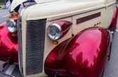 Classic car bumper at street fest — Stock Photo