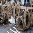 Ropes and rigging on old vessel — Stock Photo