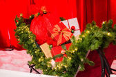 Gifts in santa sleigh — Stockfoto