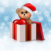 Teddy bear in the gift box — Stock Photo
