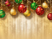 Christmas background with baubles — Stock Photo