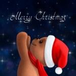 Teddy bear in Christmas hat — Stock Photo