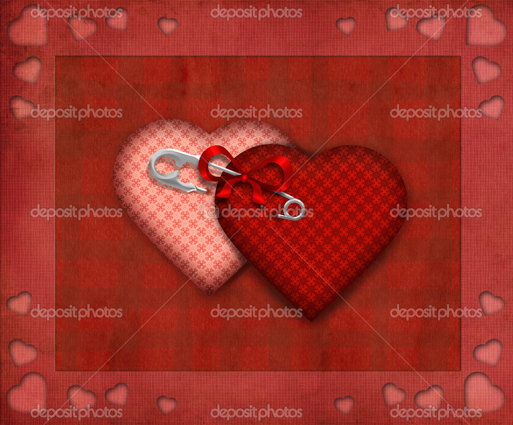 Valentines background with two hearts — Stock Photo #15839517