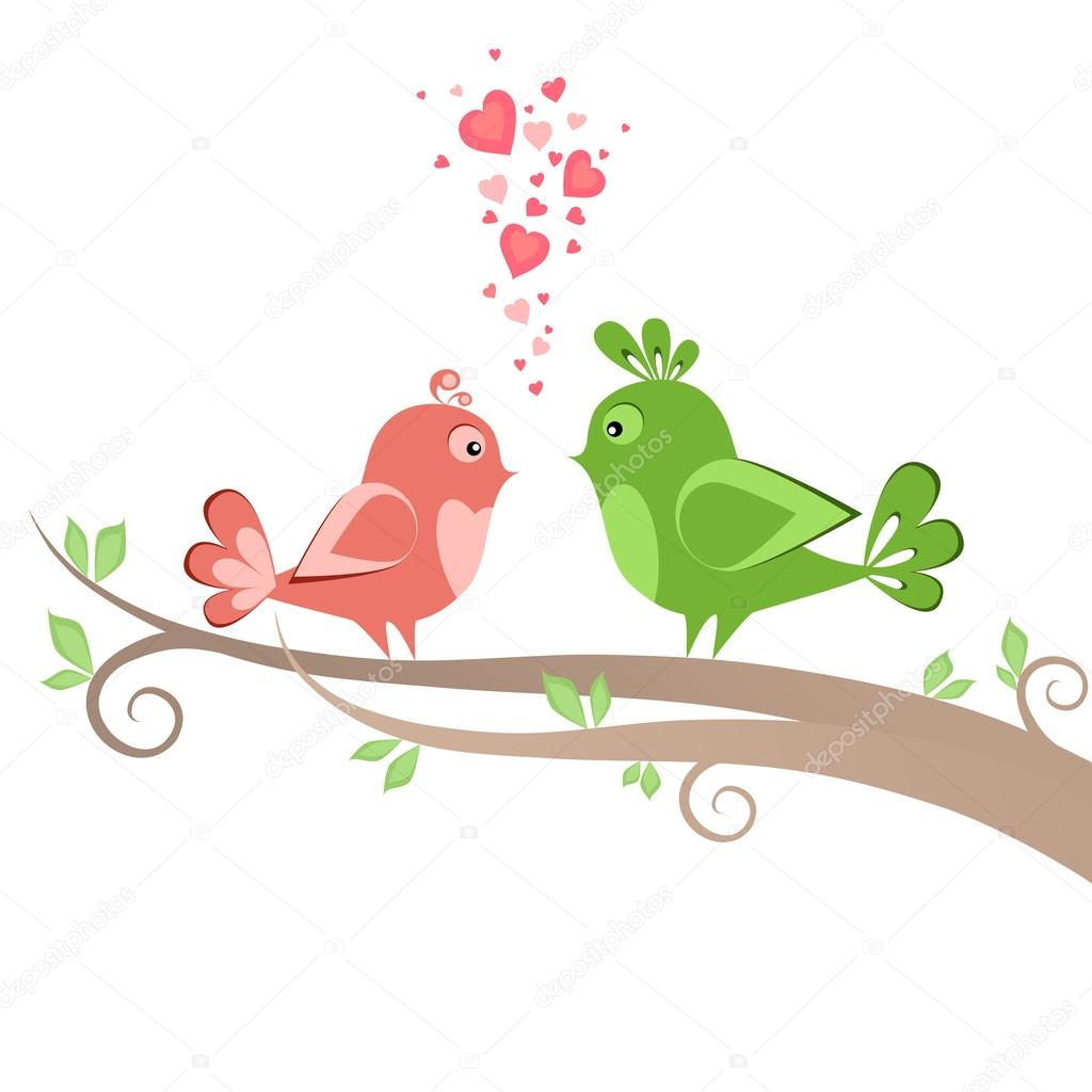 Two beautiful birds on the tree — Stock Photo #16342631
